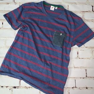 [uniqlo] striped chambray pocket tee